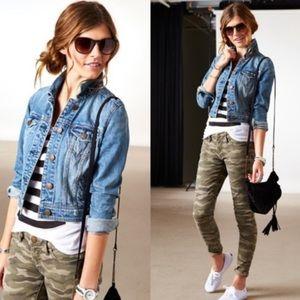 AE Cropped Denim Jean Button Up Blue Jacket XL